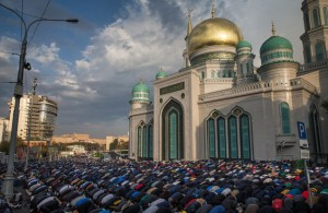 Moscow Muslims celebrate Eid Al-Adha in front of newly opened Moscow cathedral mosque